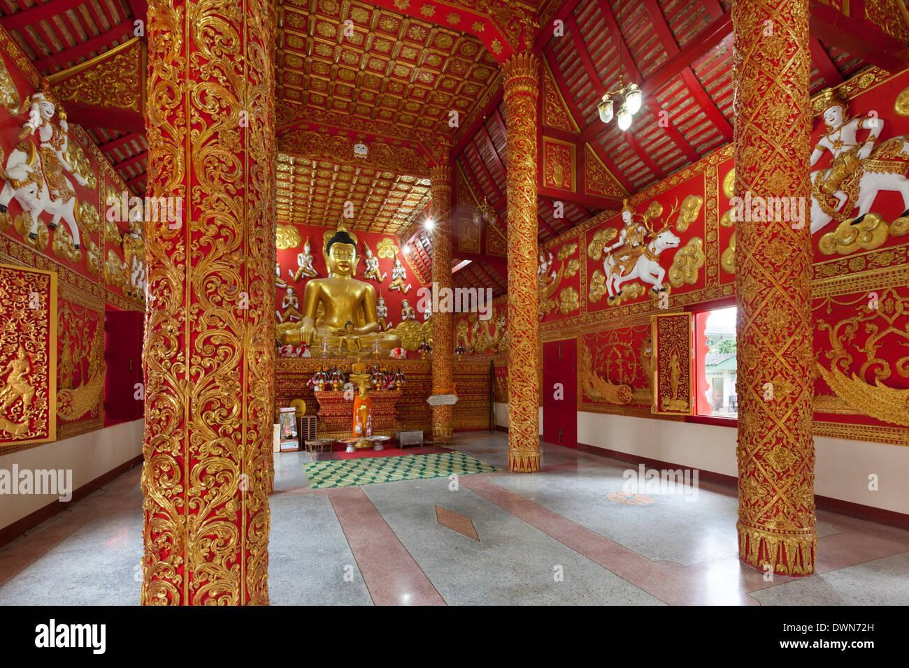 Prayer hall of Wat Phra That Lampang Luang Buddhist temple, Lampang, Northern Thailand, Thailand, Southeast Asia, Asia - Stock Image