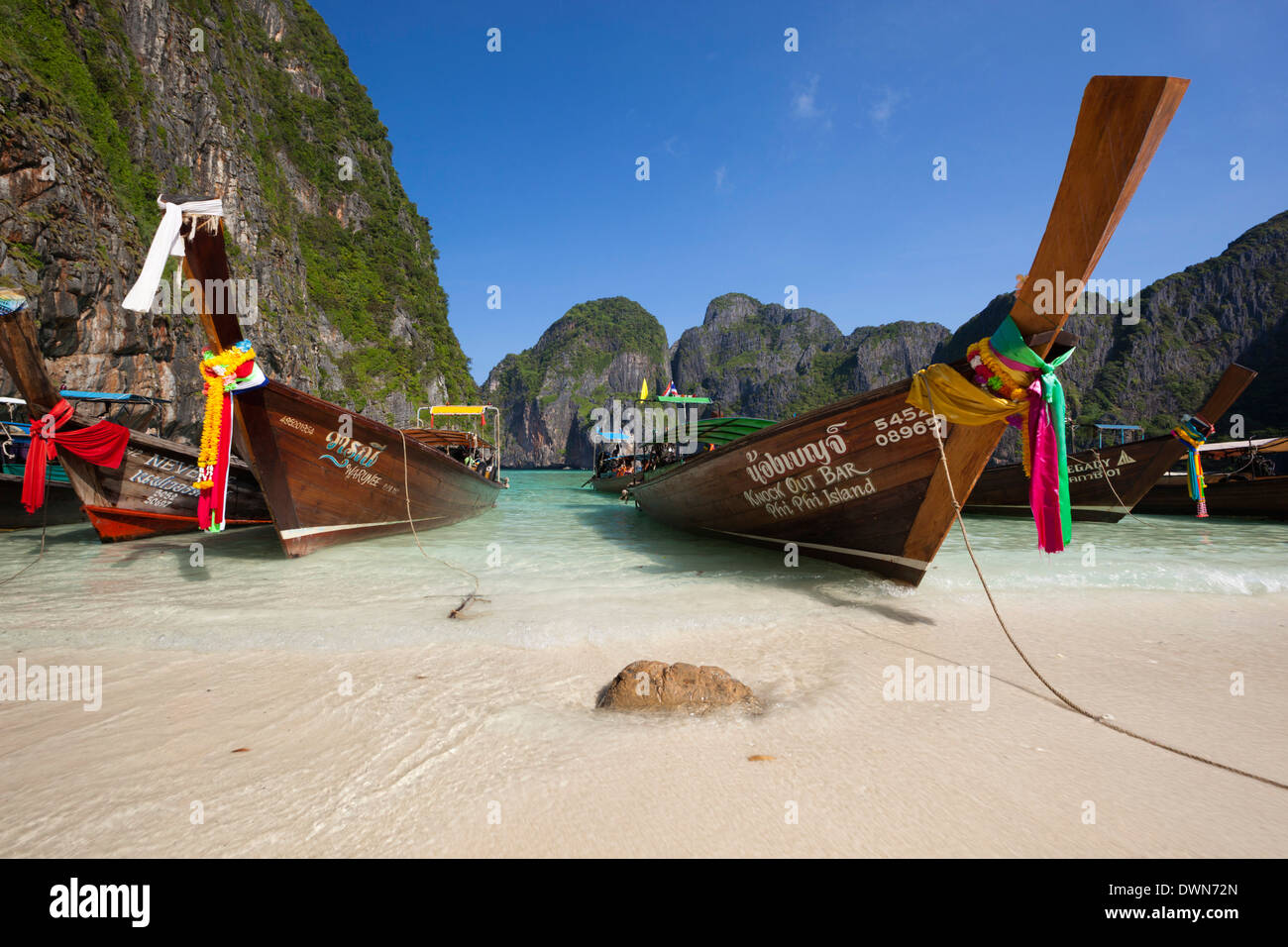 Maya Bay with long-tail boats, Phi Phi Lay Island, Krabi Province, Thailand, Southeast Asia, Asia - Stock Image