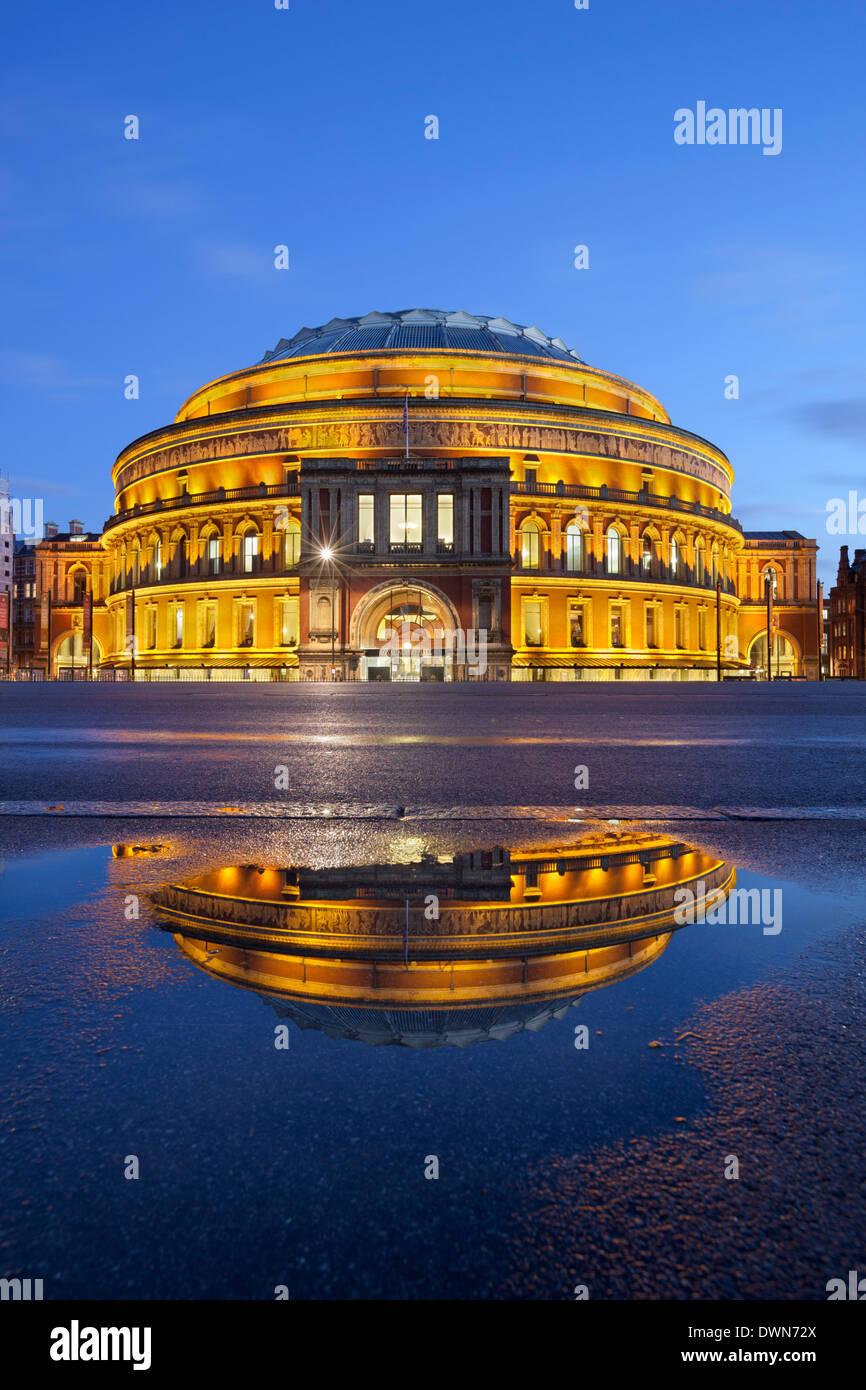 Royal Albert Hall reflected in puddle, London, England, United Kingdom, Europe - Stock Image