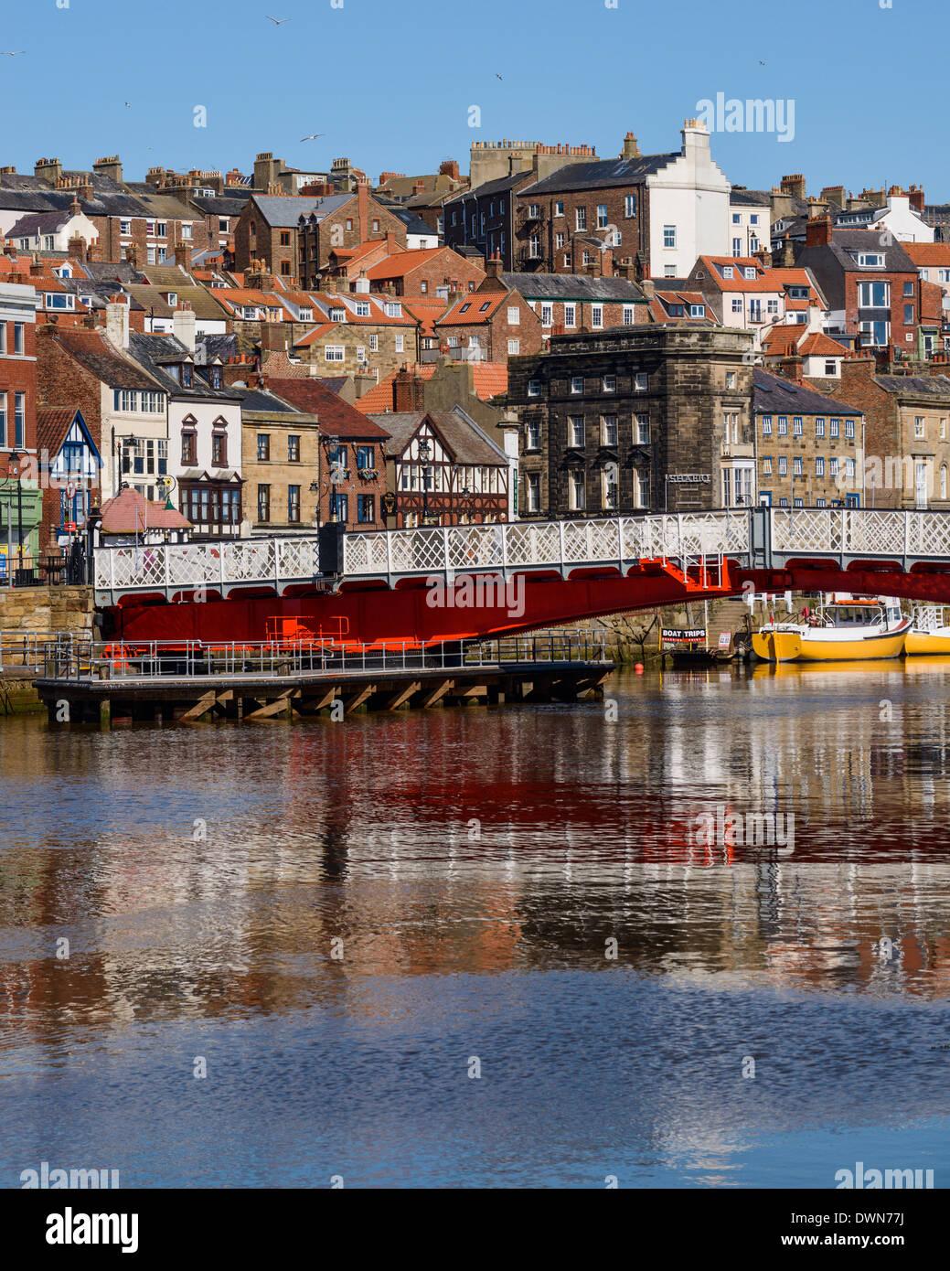 The swing bridge on the River Esk, Whitby, North Yorkshire, Yorkshire, England, United Kingdom, Europe - Stock Image
