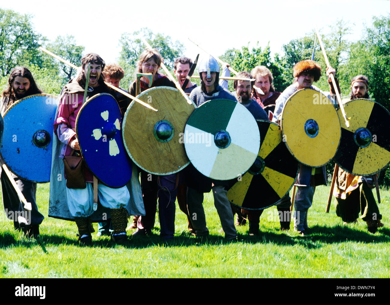 Viking Warriors, 9th century historical re-enactment, warrior soldier soldiers shields weapons England UK - Stock Image