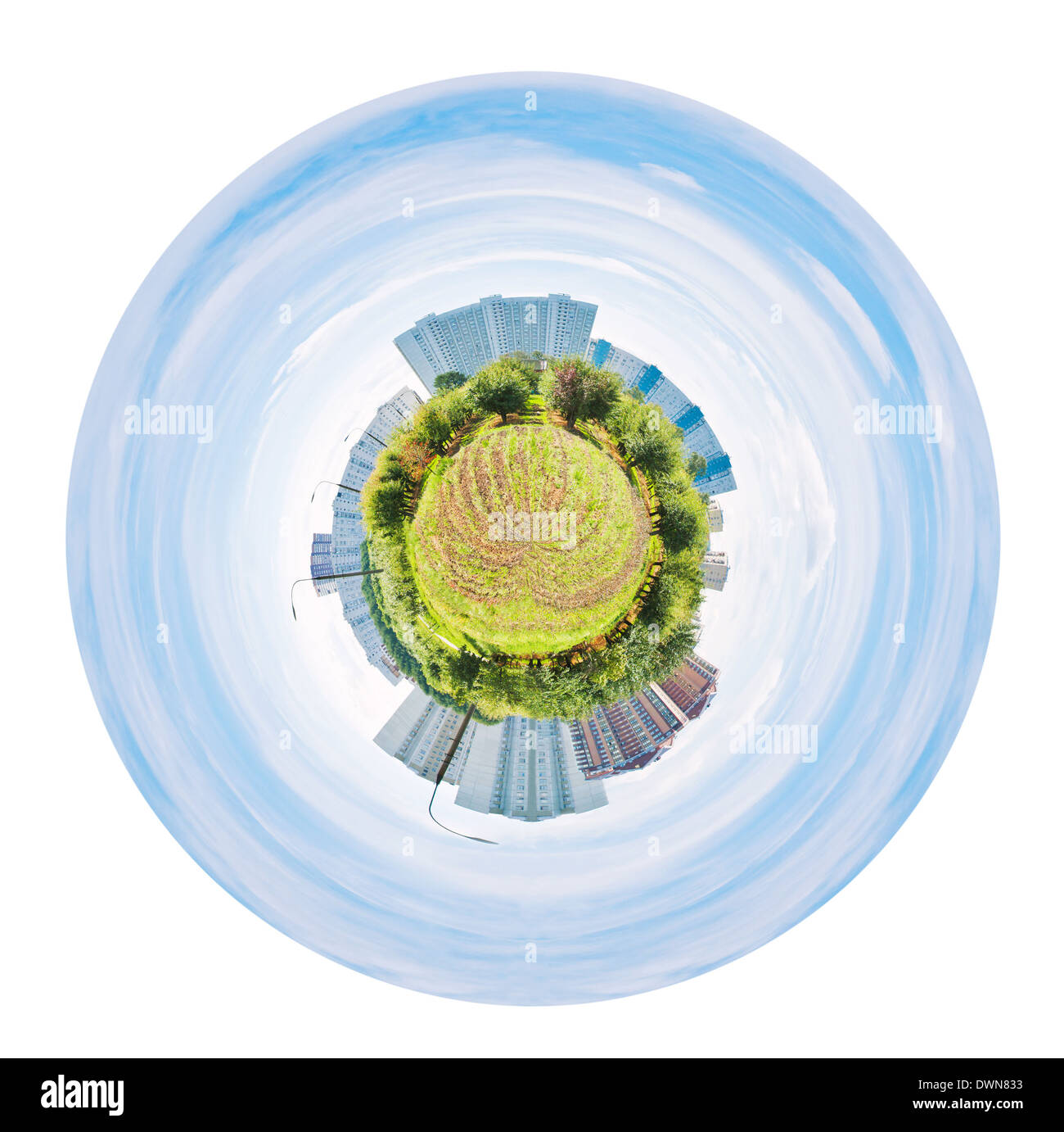 little planet - urban spherical panorama of garden and houses isolated on white background - Stock Image
