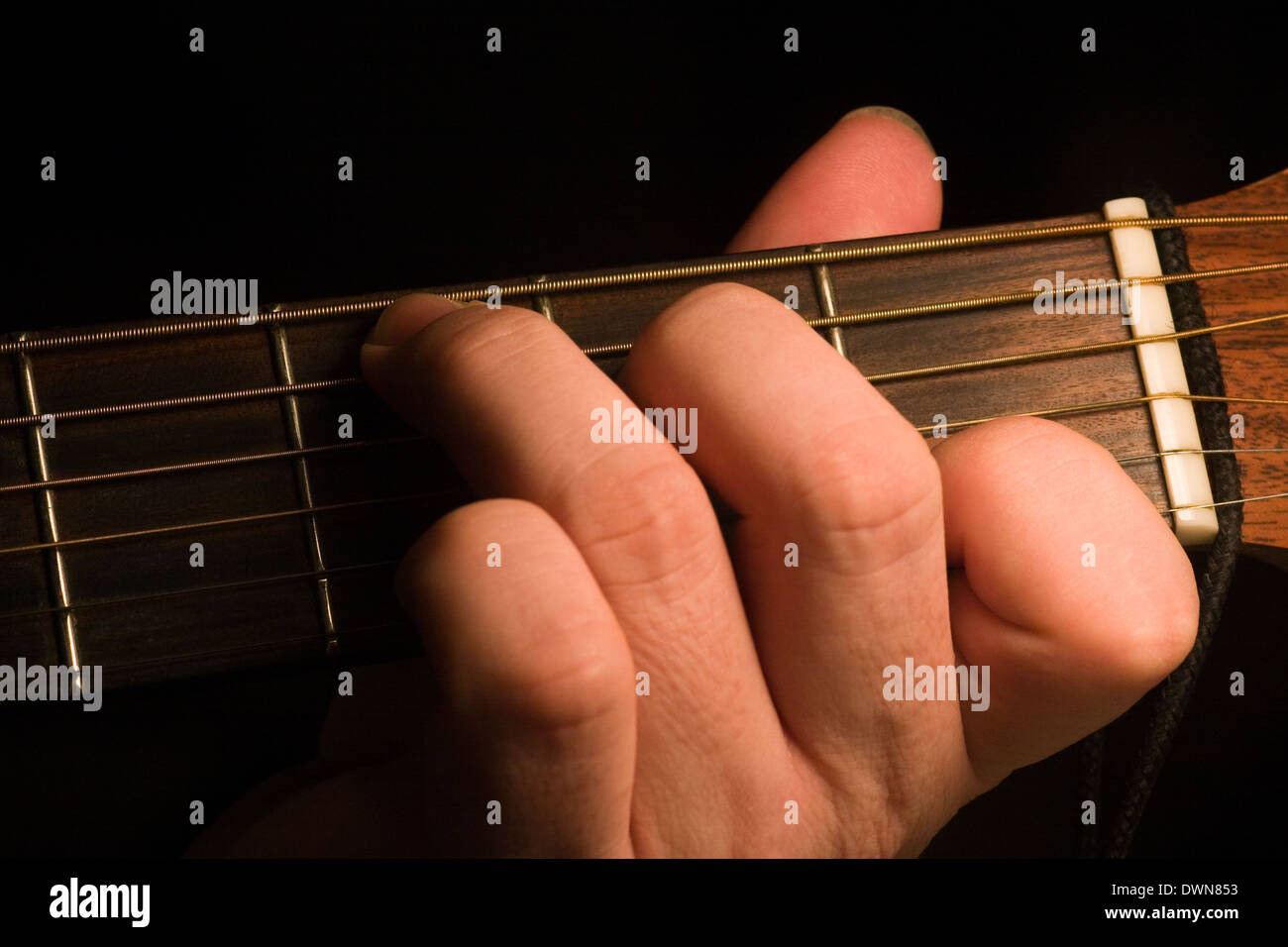 A Guitarist Playing A C Major First Position Open Chord On An Stock