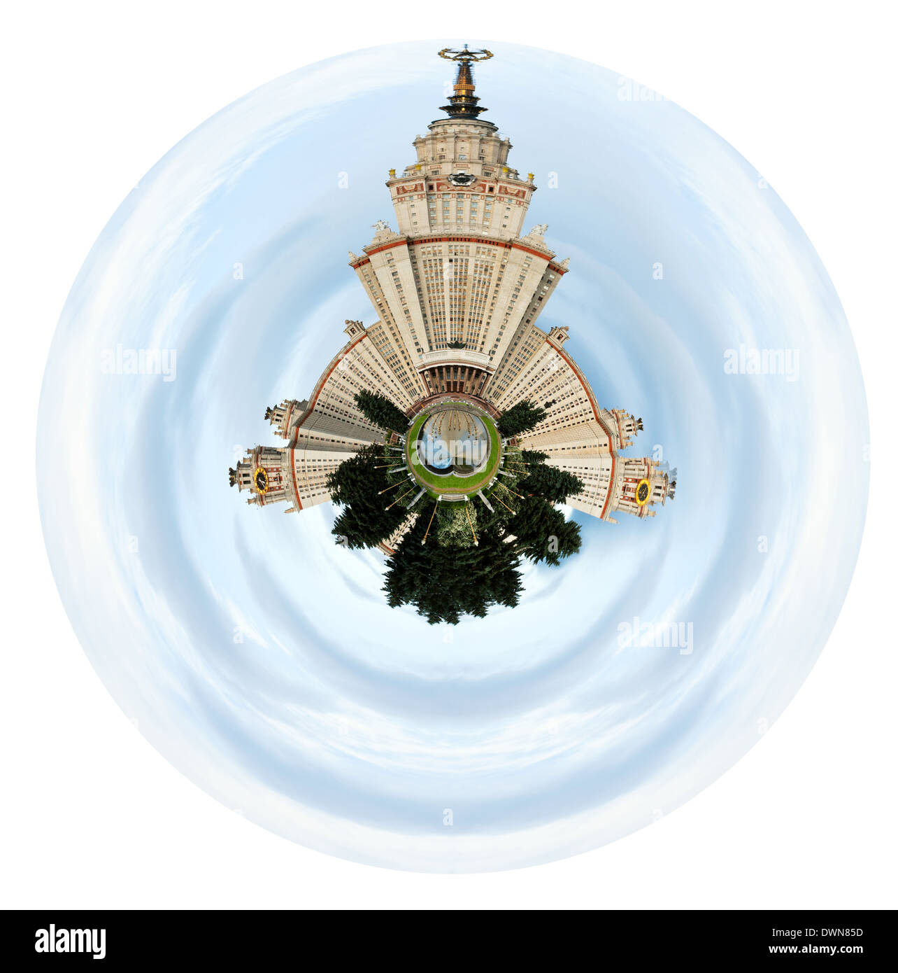 little planet - spherical view of Lomonosov Moscow State University and fountain pond under cloudy sky - Stock Image