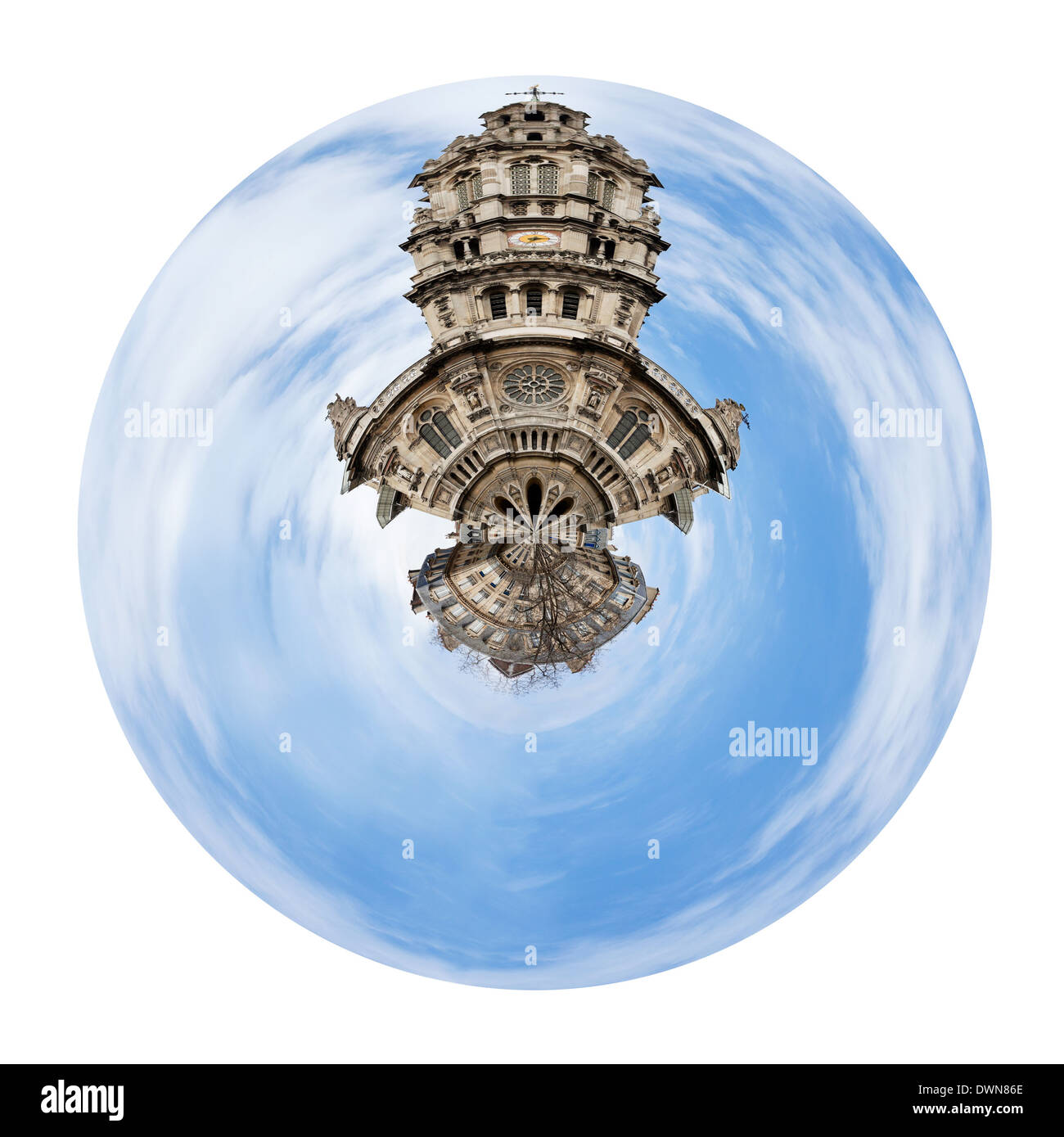 little planet - urban spherical view of old Sainte-Trinite Church in Paris isolated on white background - Stock Image