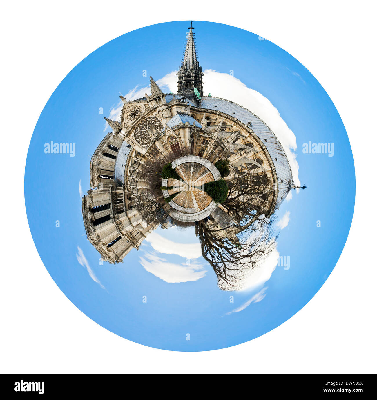 little planet - urban spherical view of cathedral Notre Dame de Paris isolated on white background - Stock Image