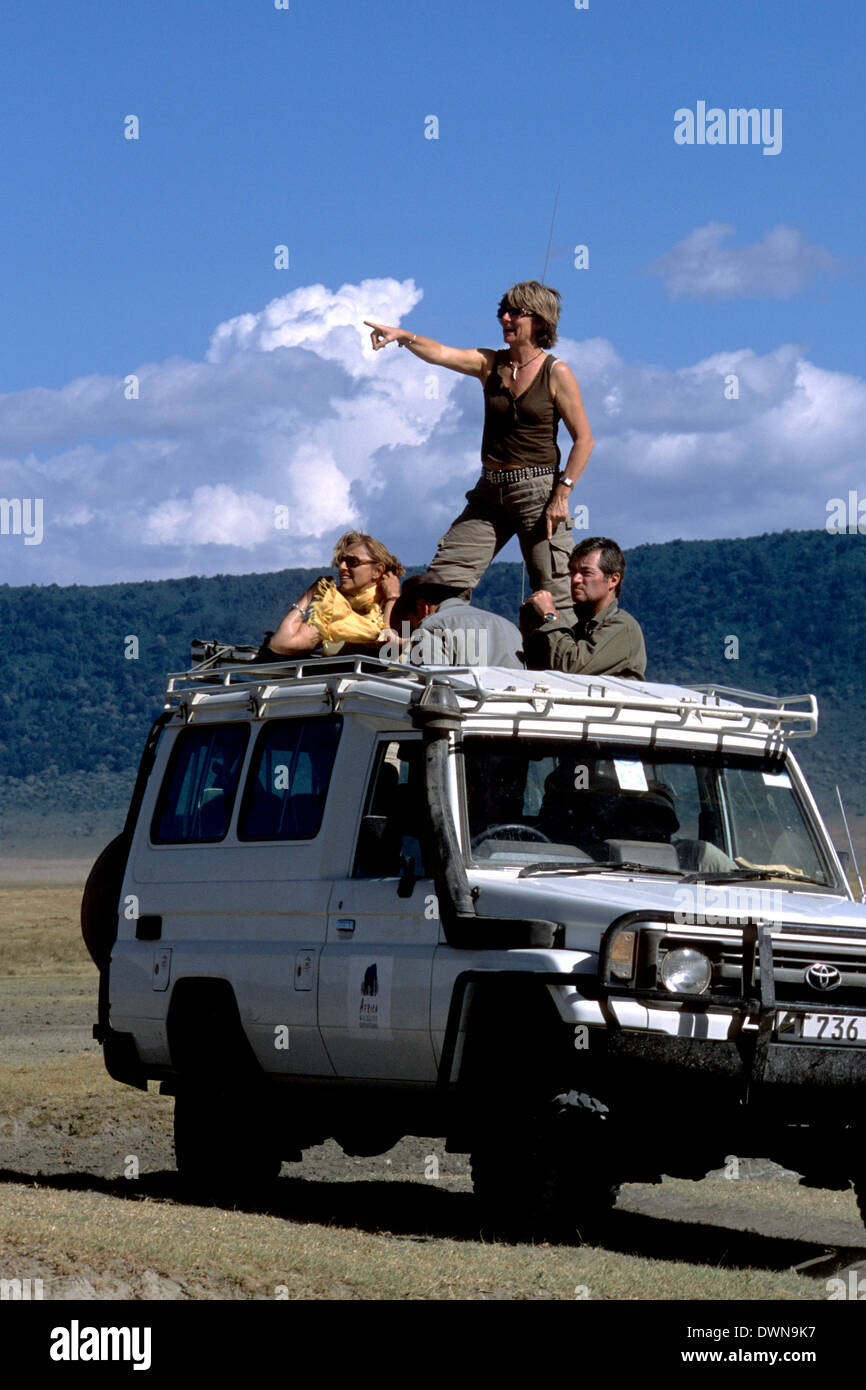Tourists watching wildlife from a vehicle in Ngorongoro Crater, Tanzania, Africa - Stock Image