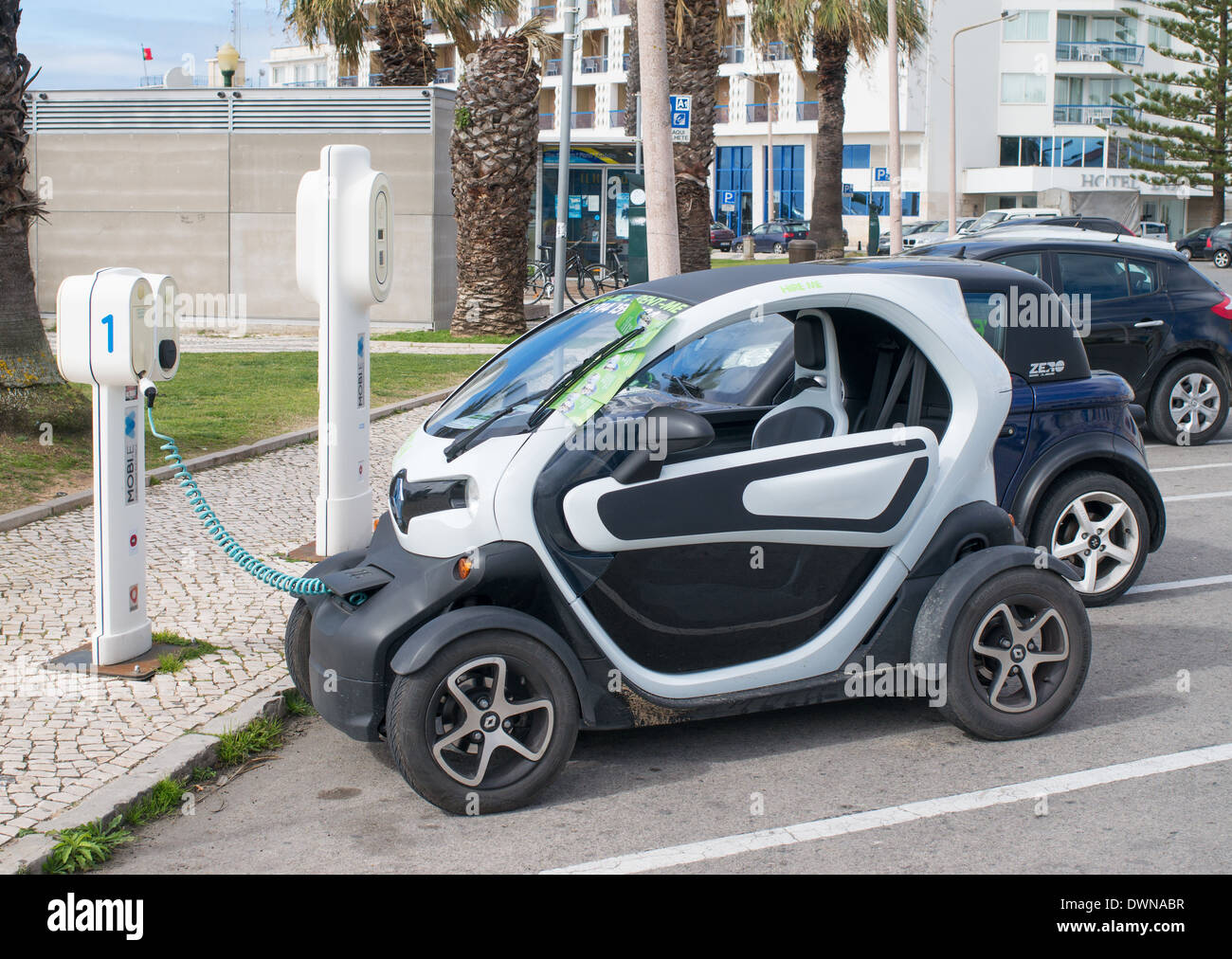A Renault Twizy battery car being charged within Faro, Algarve, Portugal;  Europe Stock Photo