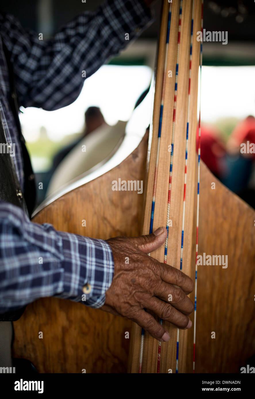 Musicians on boat to Isla Janitzio, Michoacan, Mexico, North America - Stock Image