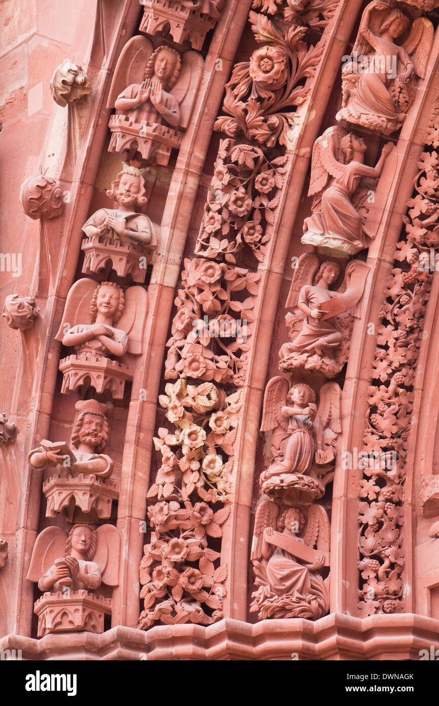 The tympanum on Basel Munster (Minster) cathedral, Basel, Switzerland, Europe - Stock Image