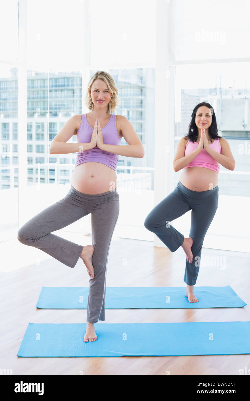Smiling pregnant women in yoga class in tree pose Stock Photo