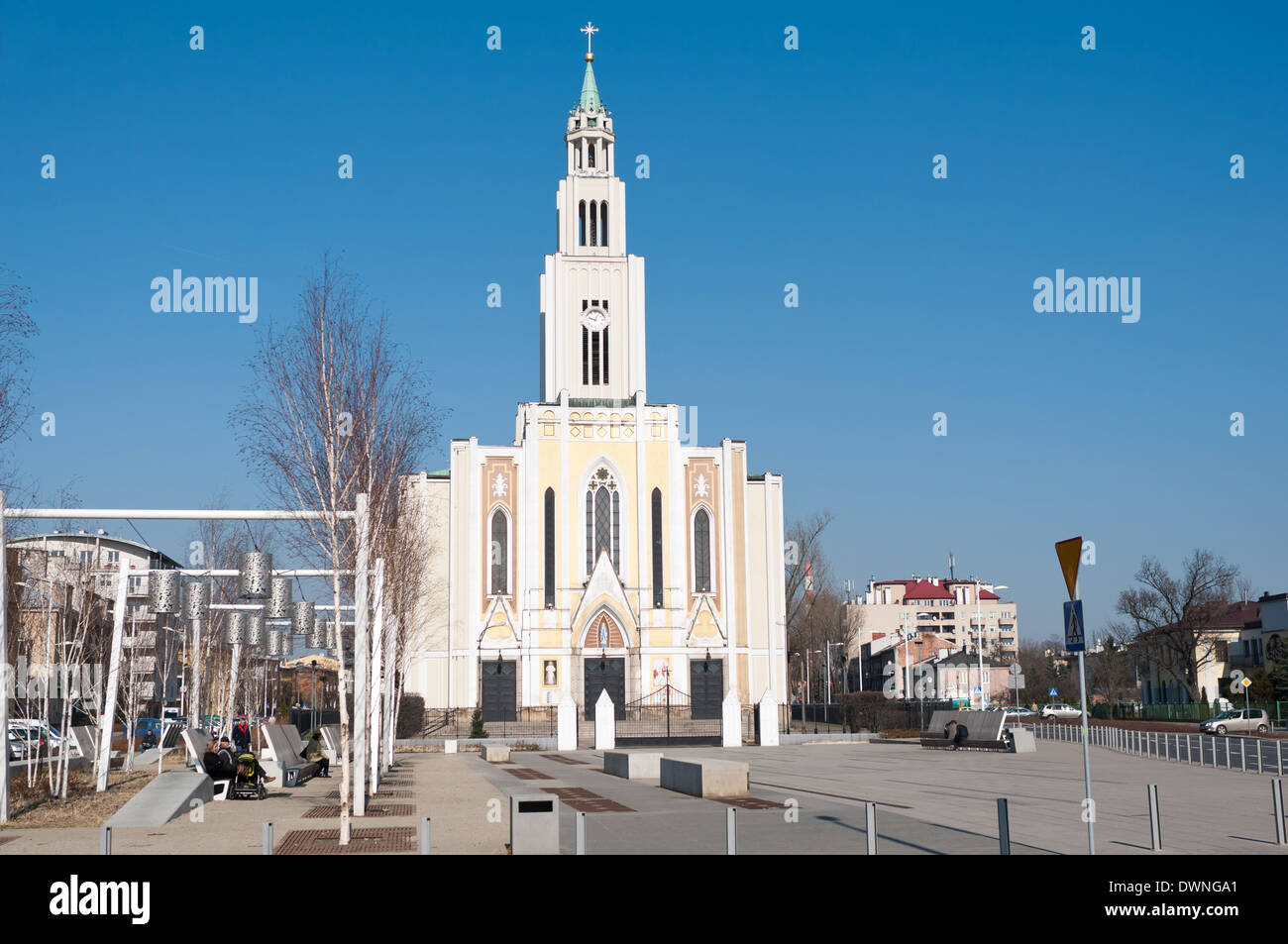 The Roman Catholic Church of Parish Of the purest Heart of Mary in Warsaw - Prague, the right side of the Vistula Stock Photo