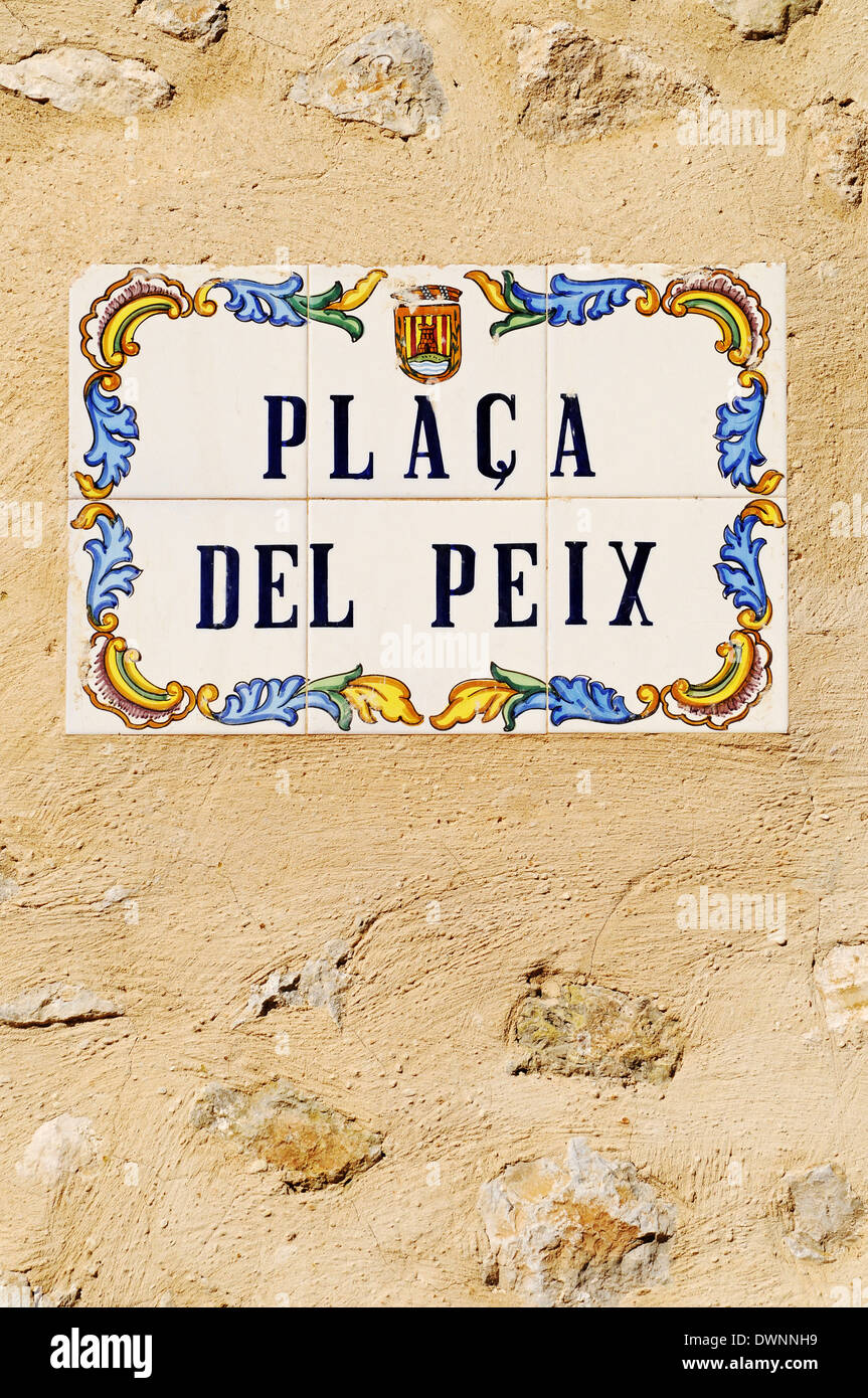 Placa del Peix, 'peace square' in Catalan, street sign, old tiles, azulejos, Polop, Costa Blanca, Province of Alicante, Spain - Stock Image