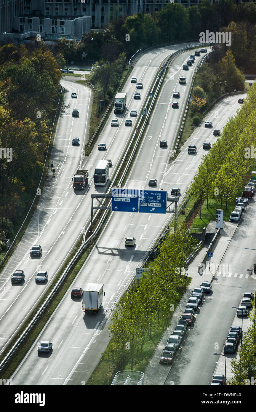 Aerial view, motorway near Schwabing, Munich, Germany - Stock Image