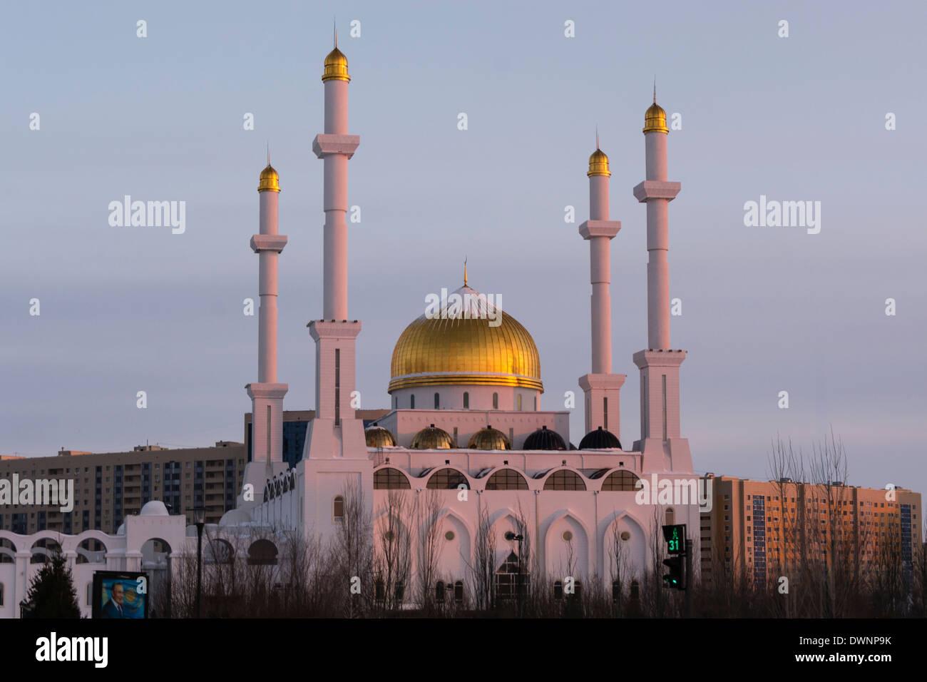 Nur-Astana Mosque in the evening, Astana, Kazakhstan Stock Photo