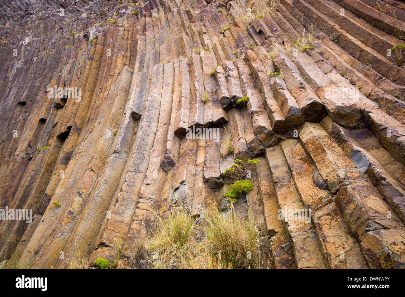 Basalt columns, Lapeiras, Porto Santo, Madeira, Portugal - Stock Image