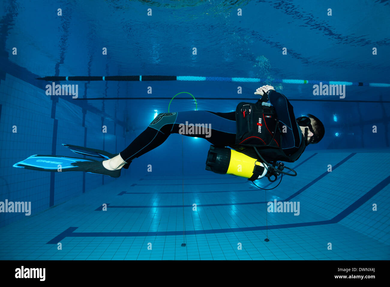 Dive training, scuba diver facing the surface, balancing, in a swimming pool, Nuremberg, Bavaria, Germany - Stock Image