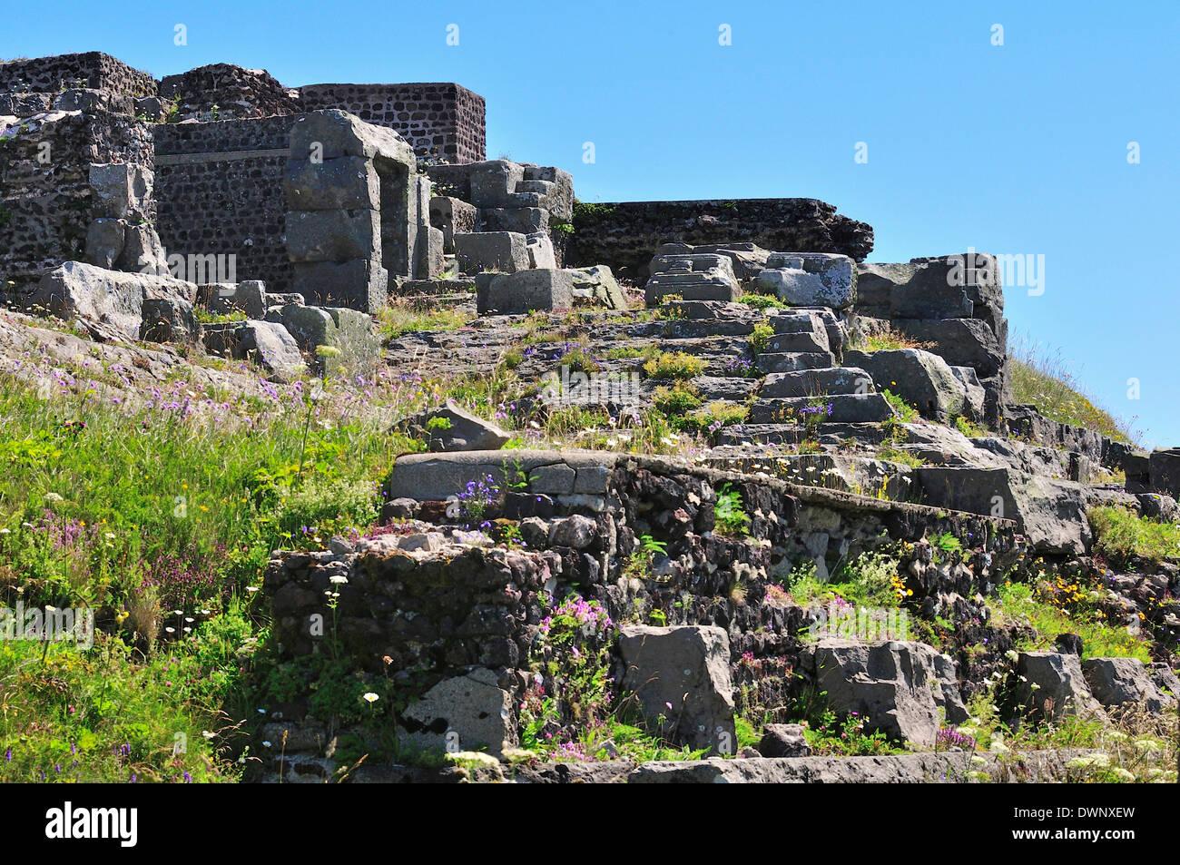 Ruins of a Roman Mercury Temple on the summit of the Puy de Dôme volcano, Puy-de-Dôme, France - Stock Image