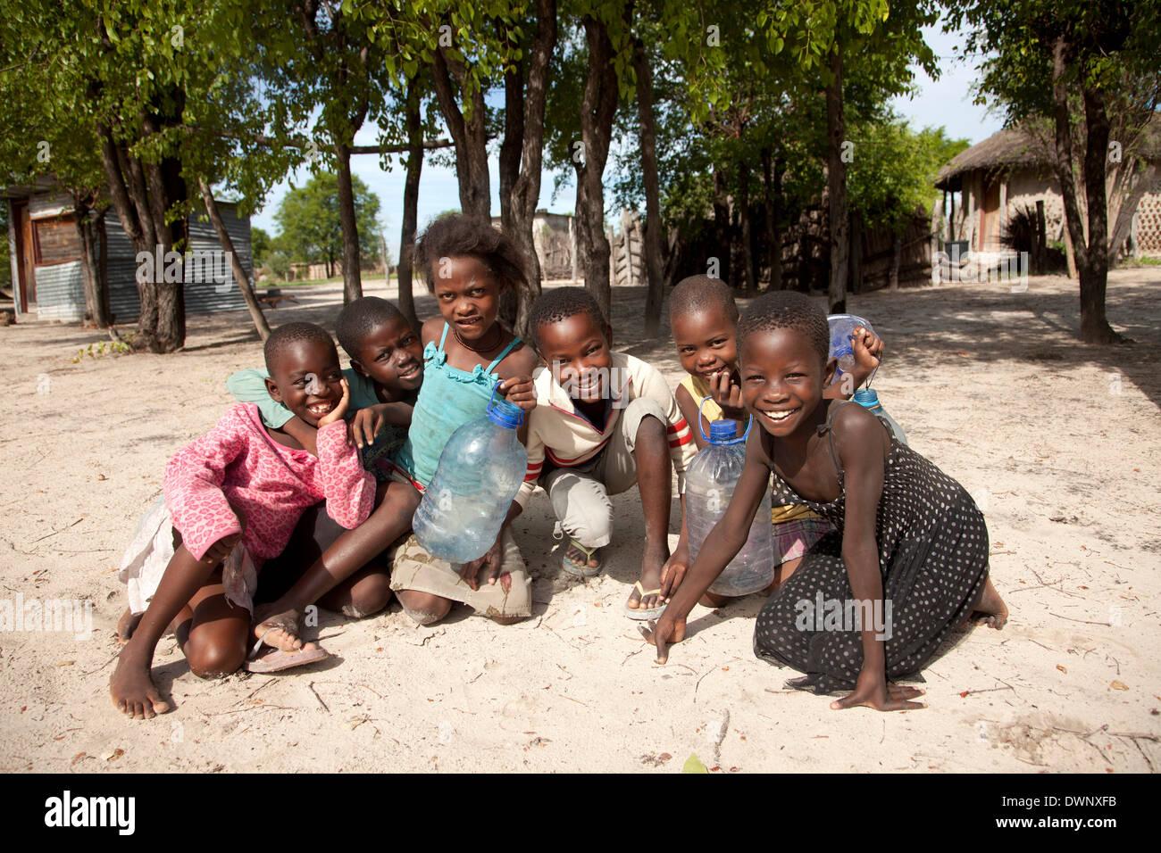 Cheerful children in a village in the Okavango Delta, Botswana - Stock Image