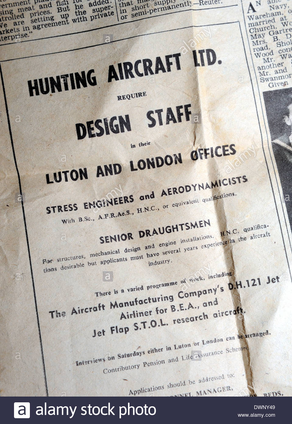 1950's situations vacant advertisement from Hunting Aircraft looking for Design Staff, to work on a new Jet airliner - Stock Image