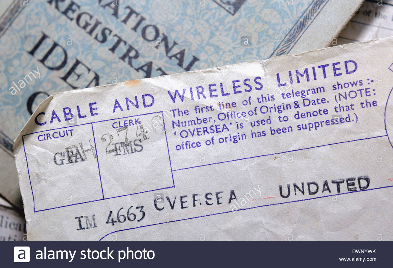 Cable and Wireless telegram sent during WWII with date and place censored. (Sent from North Africa during hostilities.) - Stock Image