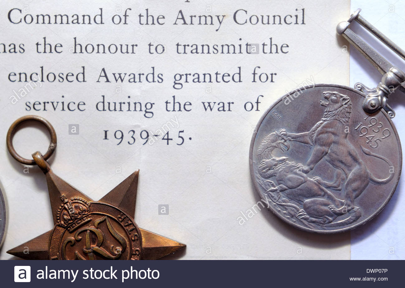 WWII medals issued after the War, then put into a draw where they remained untouched. - Stock Image