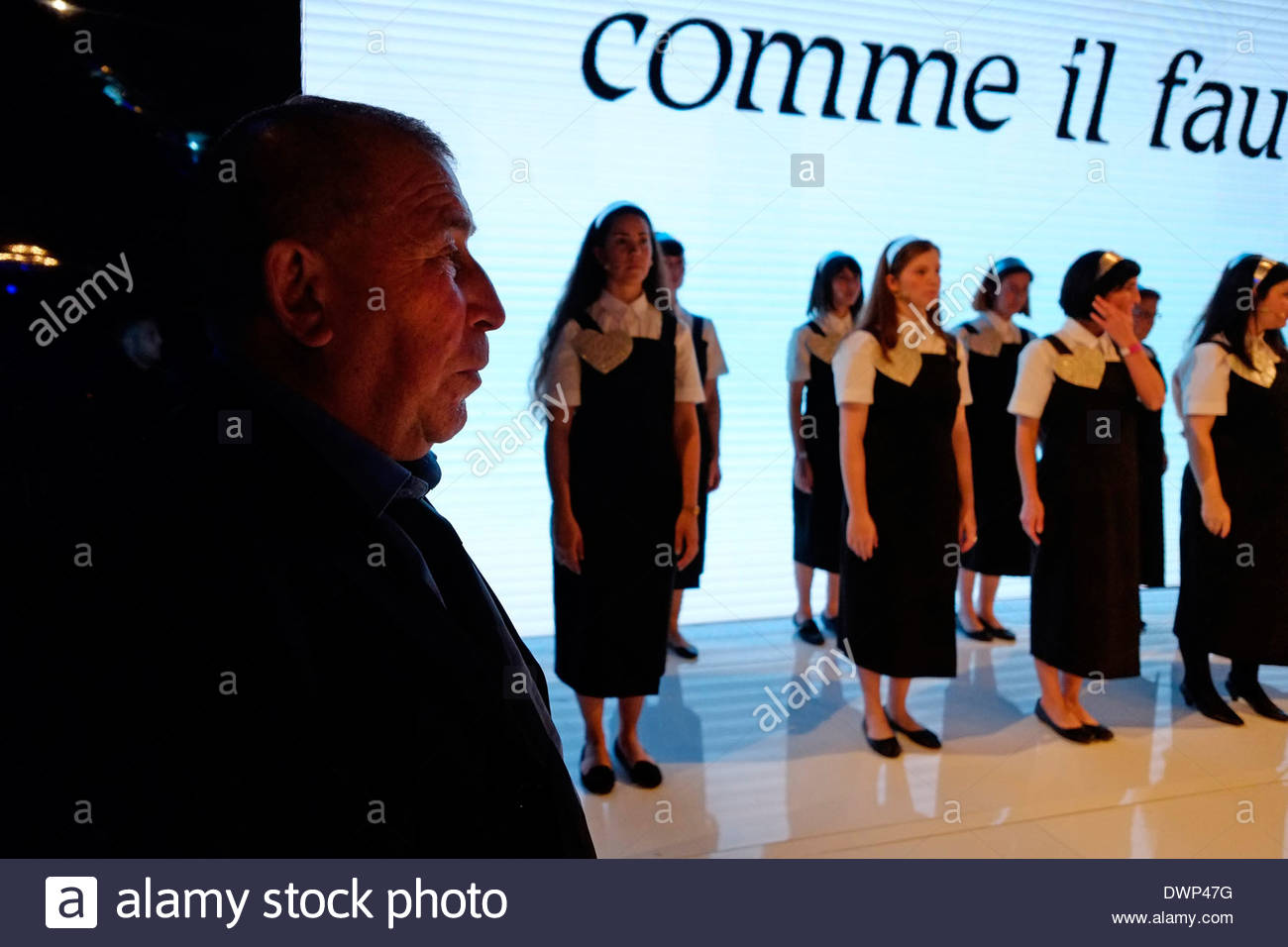 A man stand on guard during Tel Aviv fashion week Israel - Stock Image