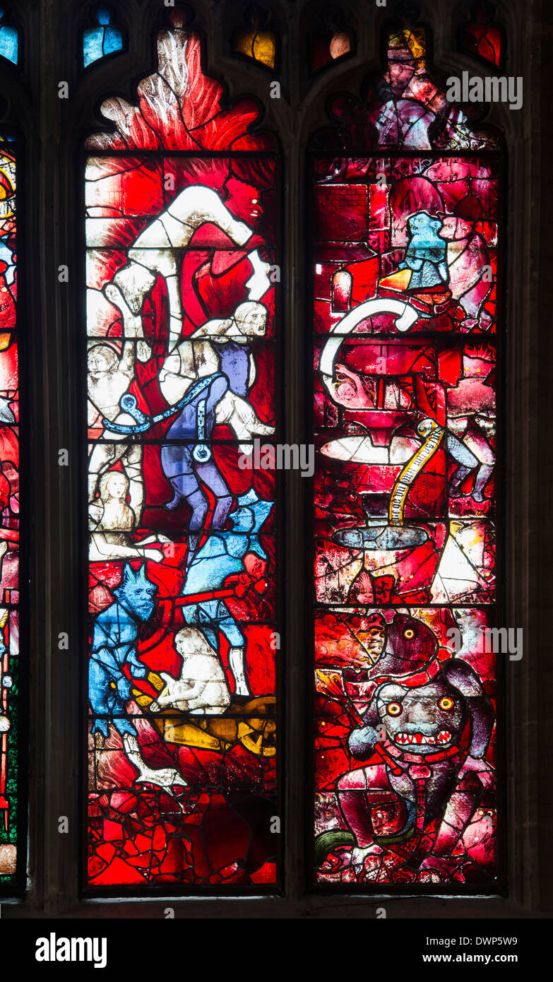 The Last Judgment window. Medieval stained glass window at Saint Marys church, Fairford, Gloucestershire, England - Stock Image