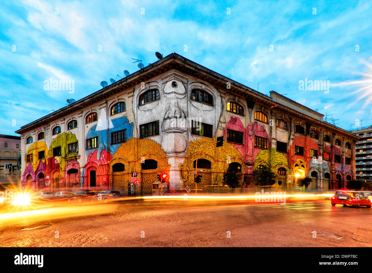 Street art by renowned artist Blu in Via del Porto Fluviale, Rome Italy - Stock Image