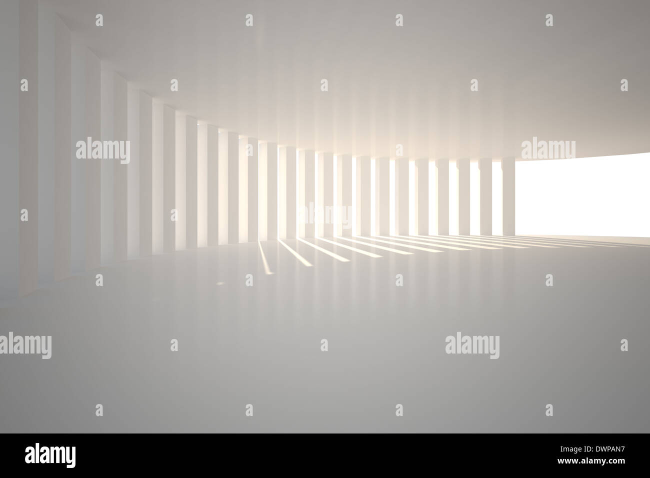 Curved white room with light - Stock Image