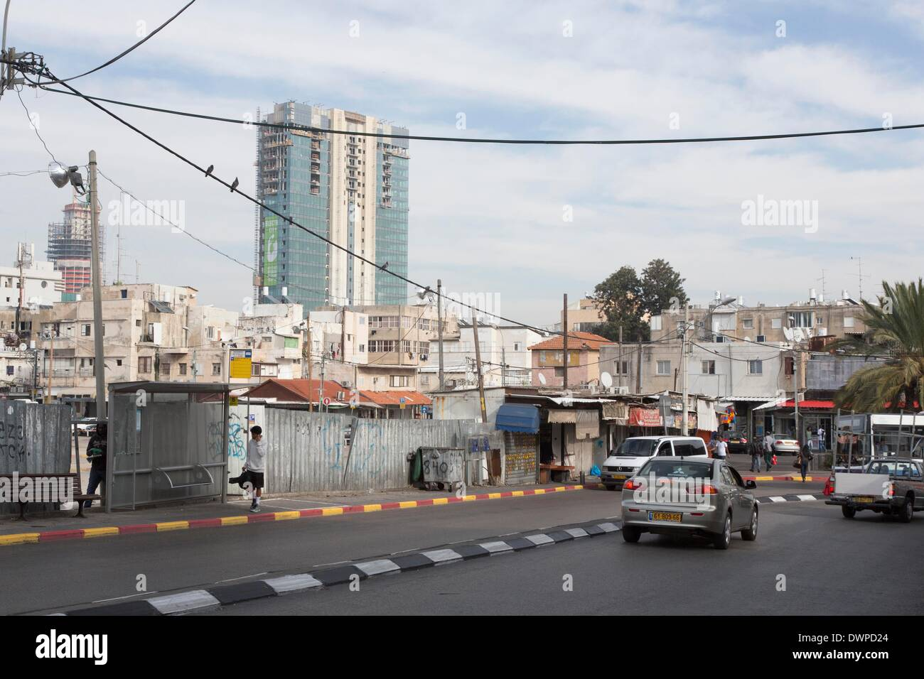 old buildings in poor Southern neighbourhood Florentin in Tel Aviv near the Old Bus Station, pictured 21.02.2014 Stock Photo