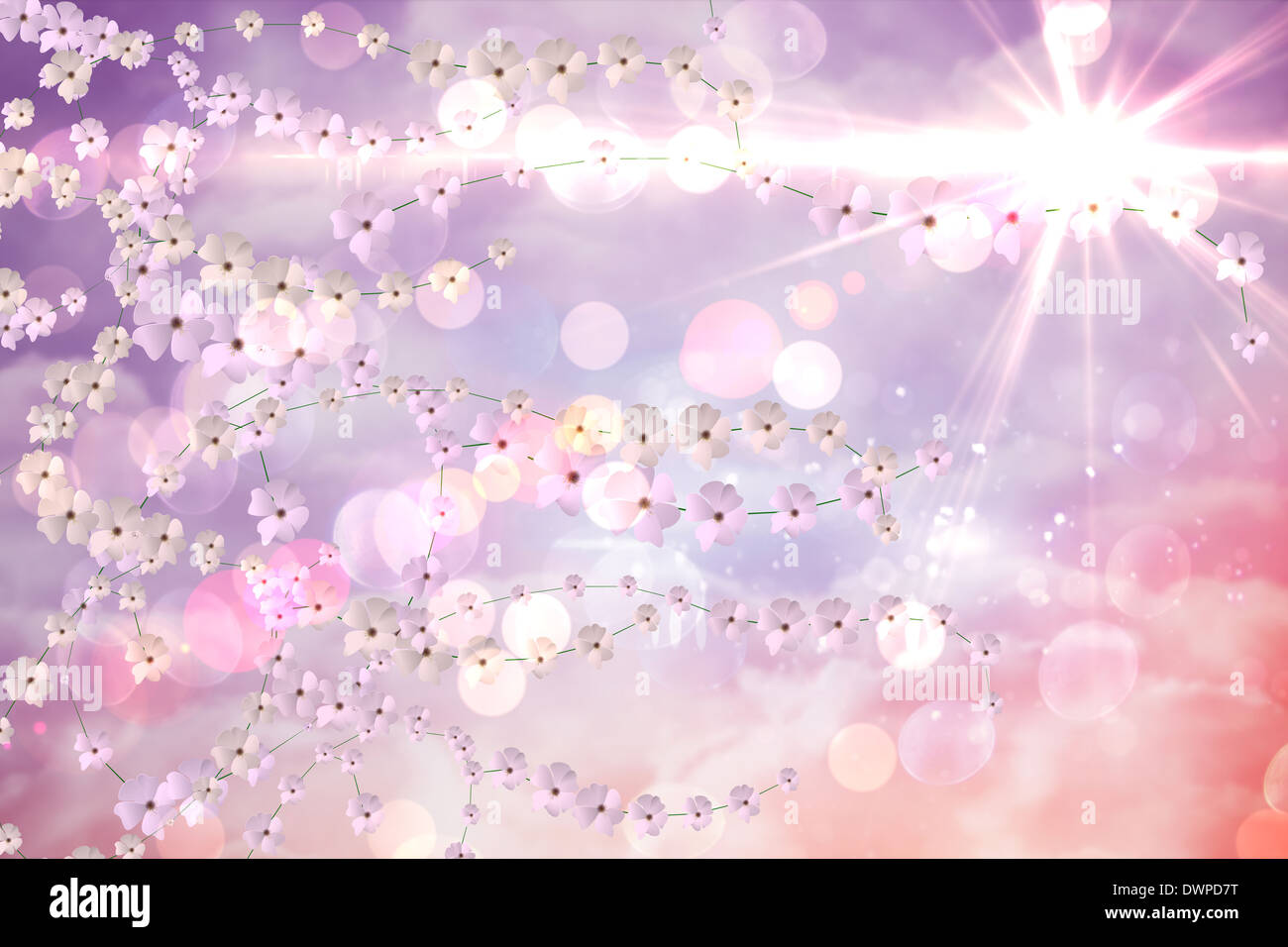 Digitally generated flower background - Stock Image
