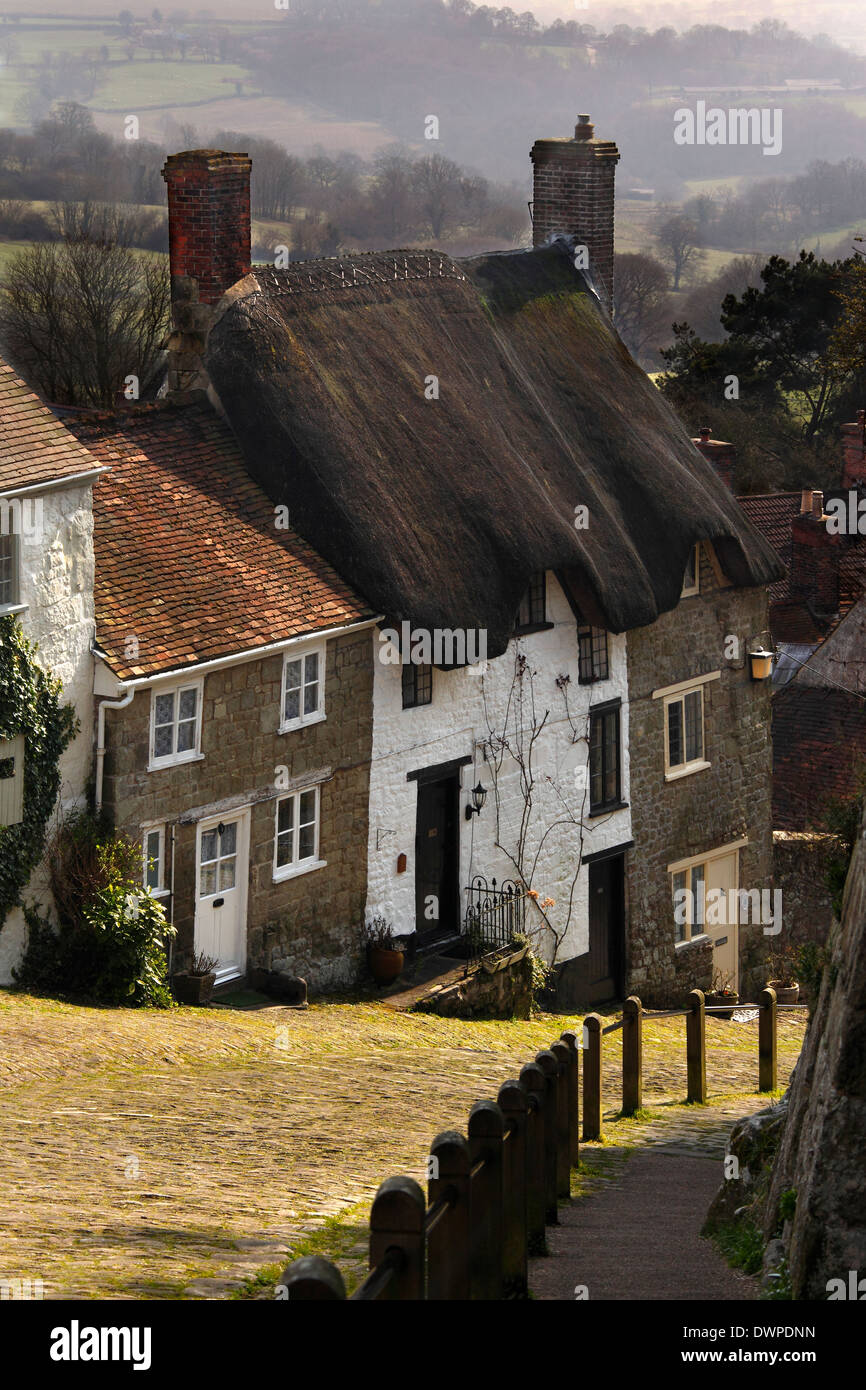 Gold Hill in the town of Shaftsbury in the southwest of England. - Stock Image