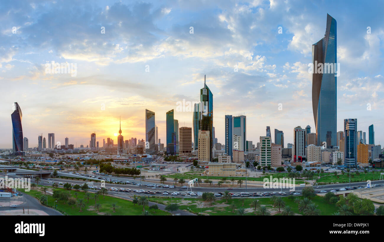 Kuwait City, modern city skyline and central business district, elevated view - Stock Image