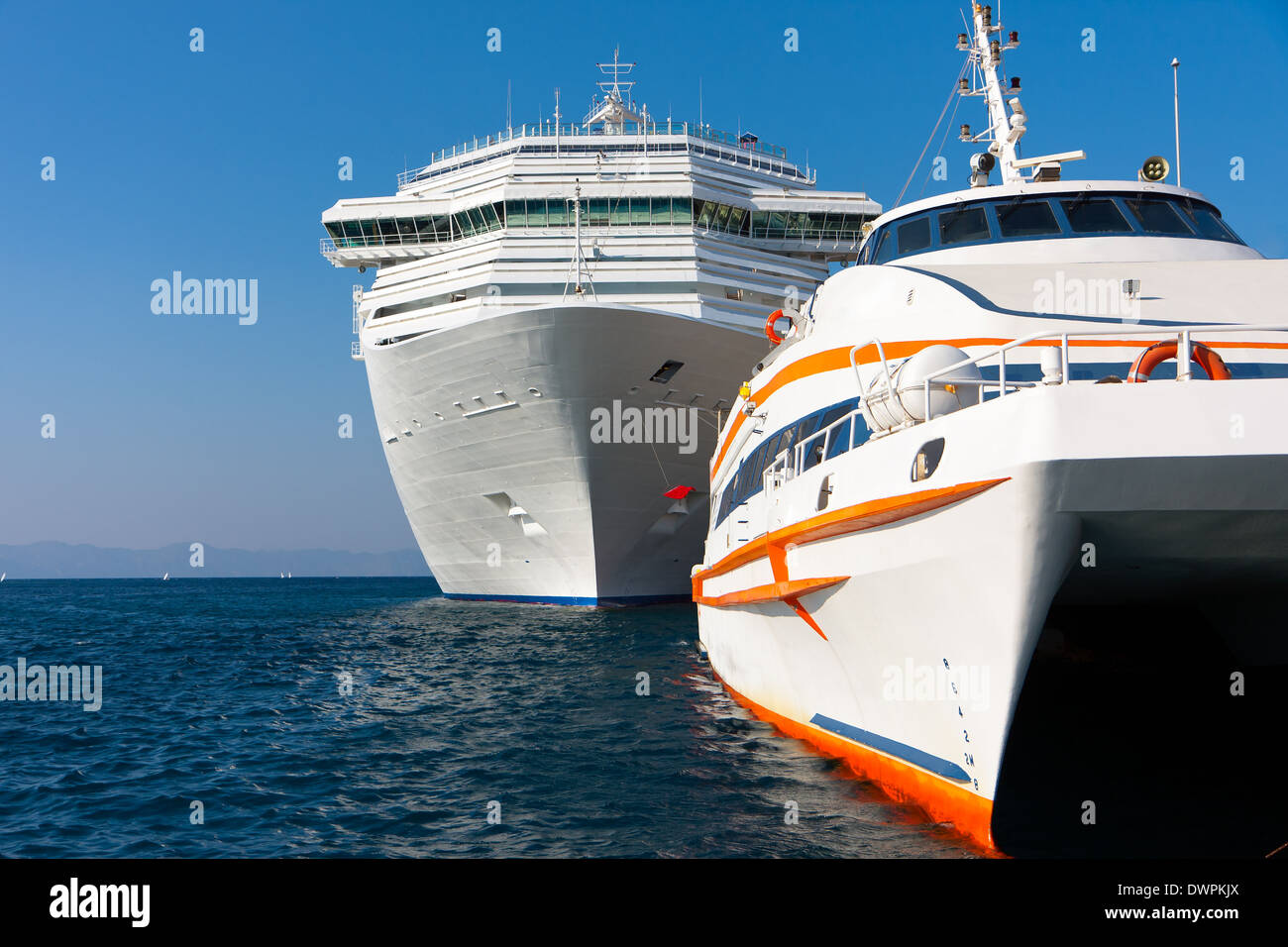 Tourist boats and passenger ships Stock Photo