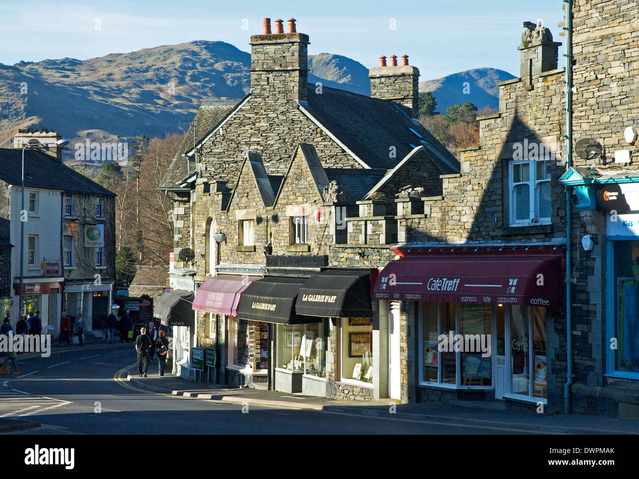 Lake Road, Ambleside, Lake District National Park, Cumbria, England UK, backed up by Loughrigg Fell - Stock Image