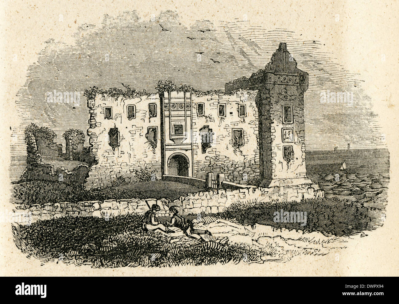 Circa 1860 antique engraving, Castle of St. Andrew's in Fife, Scotland. - Stock Image