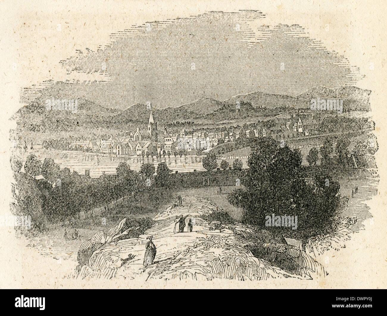 Circa 1860 antique engraving, view of Perth, Scotland. - Stock Image