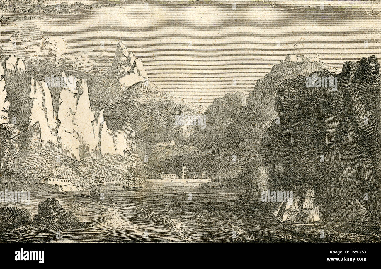 Circa 1860 antique engraving, view of St. Helena. - Stock Image