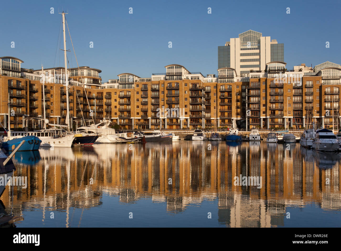 Executive apartments of Sandpiper Court at St. Katharine's Dockyard in Tower Hill in London in the United Kingdom. - Stock Image