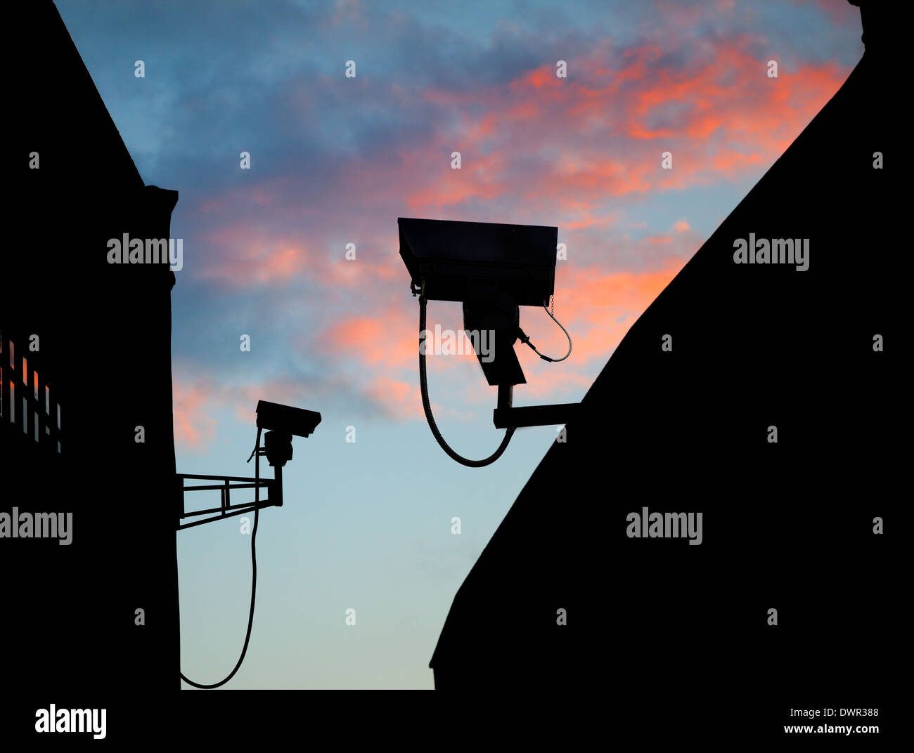 Security camera operating CCTV - Stock Image