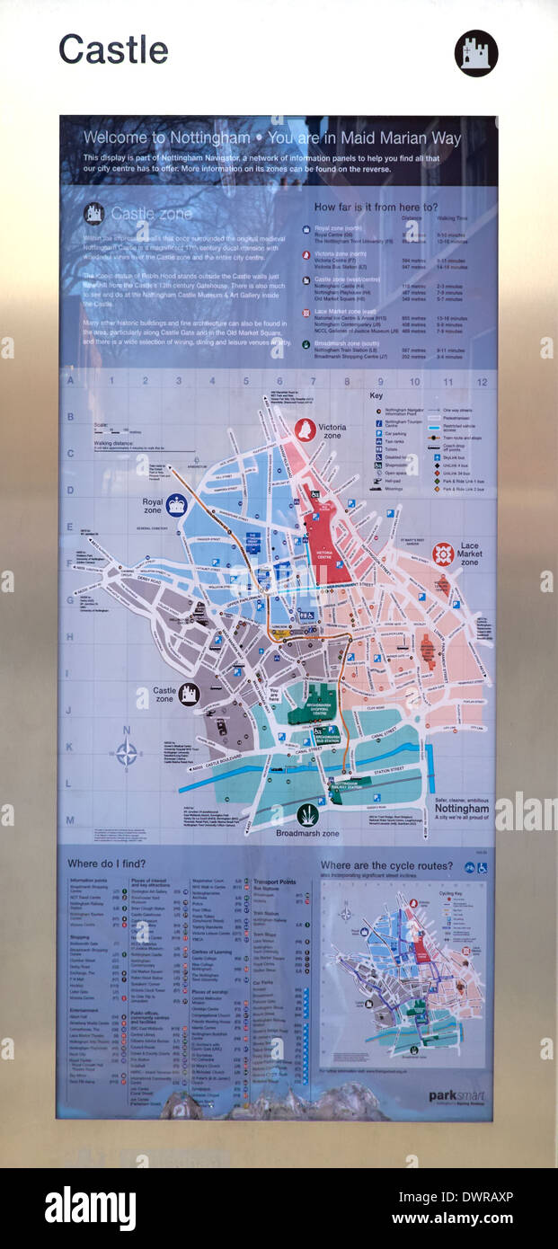 Walking route planner stock photos walking route planner stock city tourist map nottingham england uk stock image gumiabroncs Images