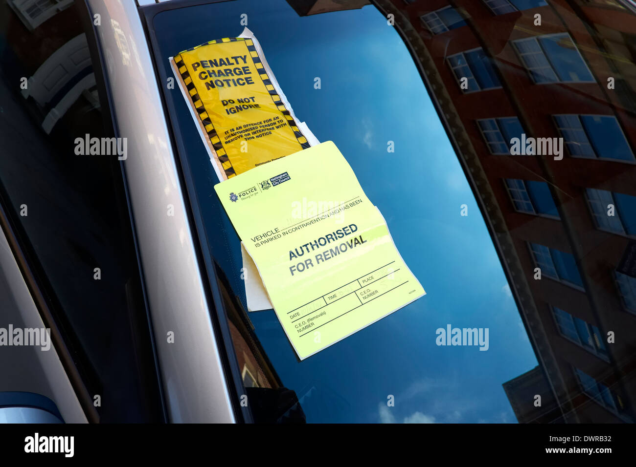 Penalty charge notice and authorised for removal sticker Nottingham England UK - Stock Image