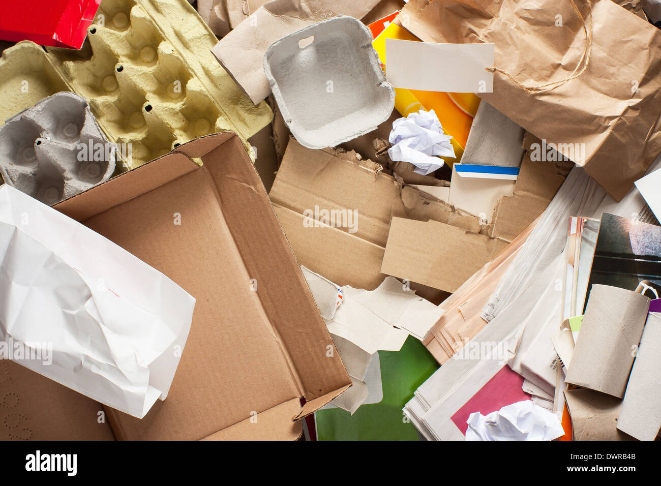 Segregated paper wastes ready to recycling - Stock Image