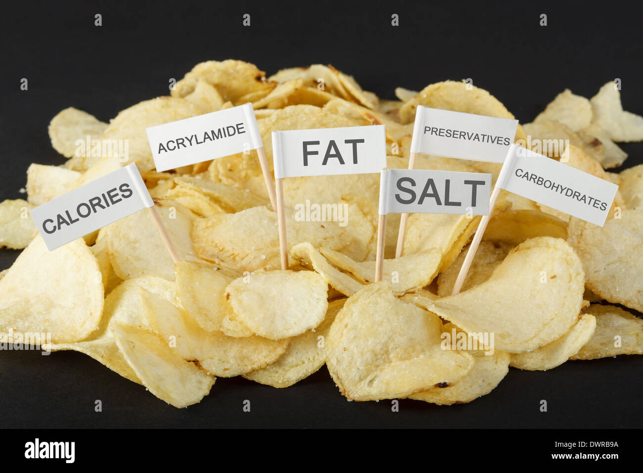 Junk food concept. Potato chips and flags showing unhealthy ingredients - Stock Image