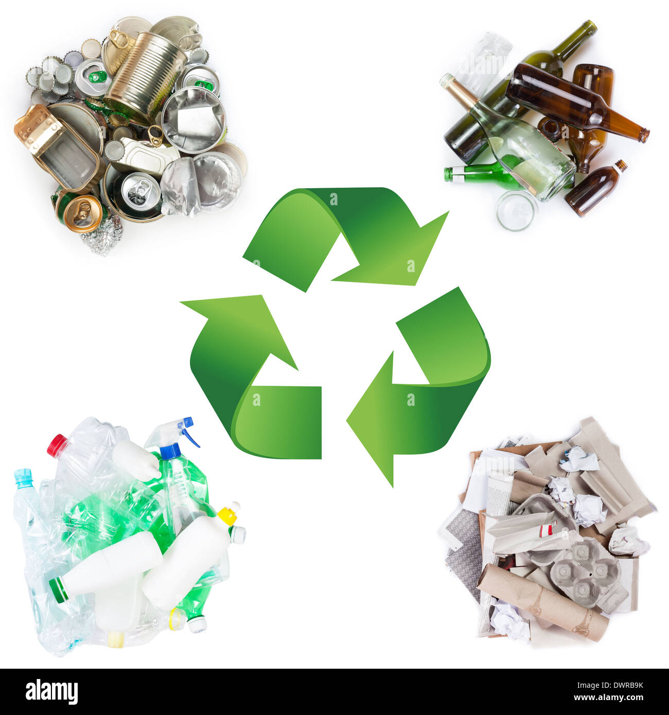 Recycle concept. A selection of garbage for recycling. Segregated metal, plastic, paper and glass on white background - Stock Image