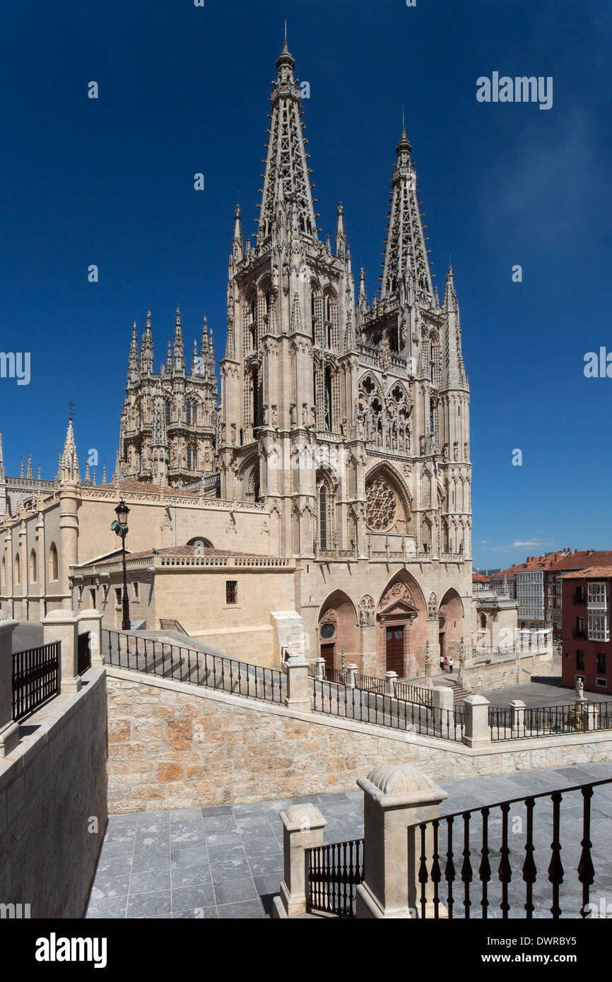 Burgos Cathedral and the city of Burgos in the Castilla-y-Leon region of northern Spain. - Stock Image