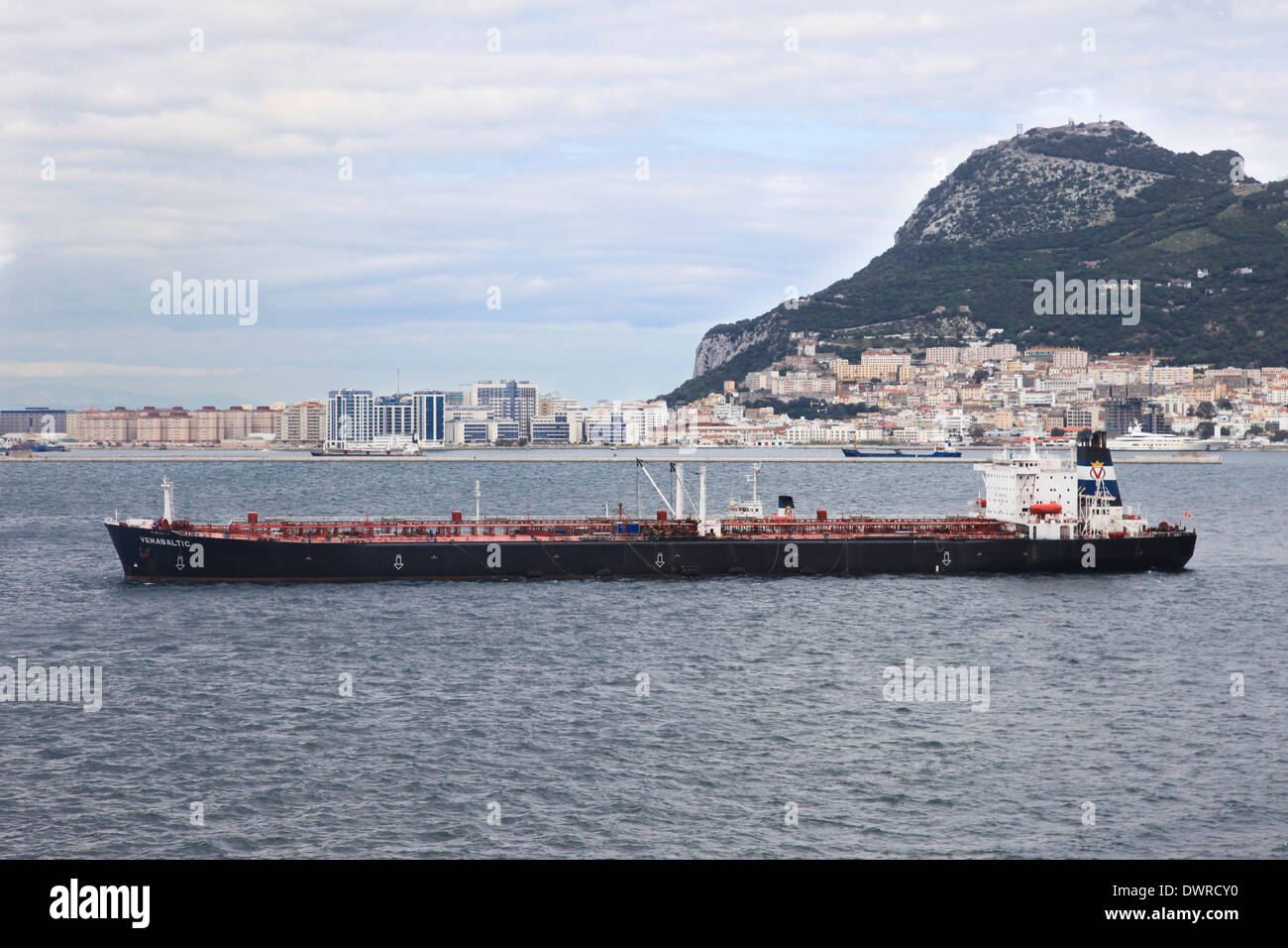 Crude oil tanker VEMABALTIC anchored in Gibraltar harbor - Stock Image
