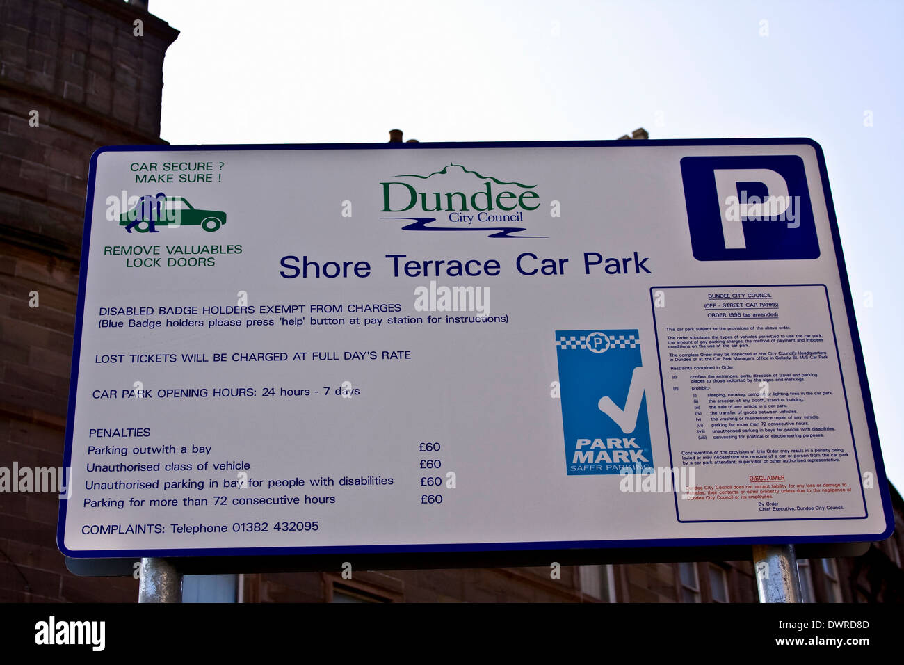 Large 'Dundee City Council' car park sign displaying useful information along Shore Terrace in Dundee, UK - Stock Image