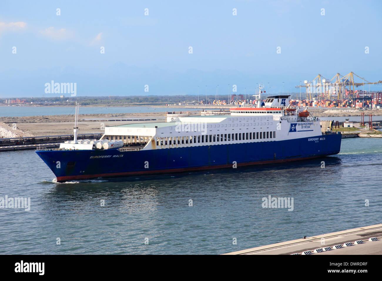 Ro-Ro ferry mv Euroferry Malta leaving Livorno harbor Italy - Stock Image